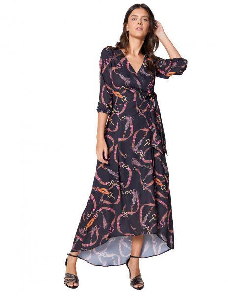 Amaro Feminino Vestido Longo Wrap, Preto
