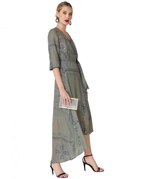 Amaro Feminino Vestido Longo Wrap, Verde