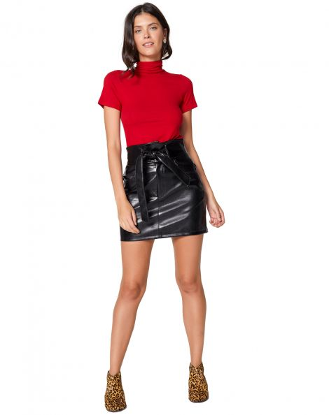 Amaro Feminino Mini Saia Leather, Preto