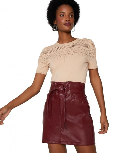 Amaro Feminino Mini Saia Leather, Vermelho