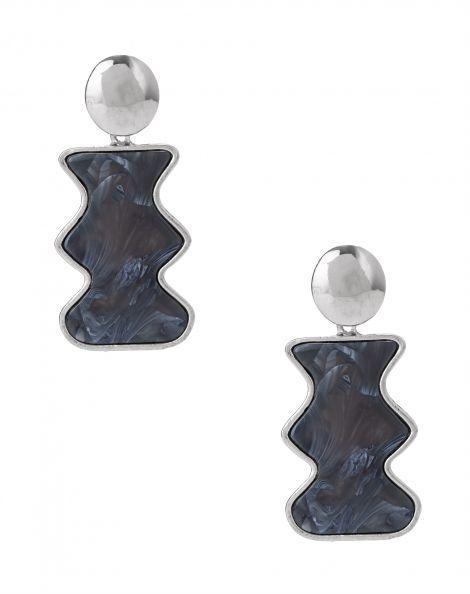 Amaro Feminino Brinco Metal Com  Acrílico Ondas, Azul