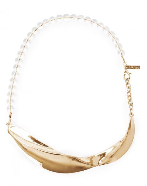 Amaro Feminino Colar Metal E Esferas Transparentes, Dourado