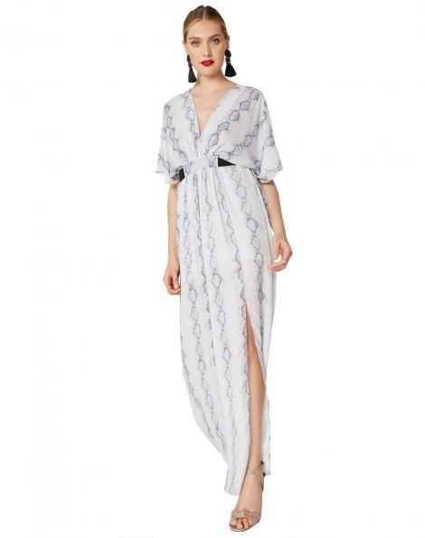 Amaro Feminino Vestido Longo Estampado Com Faixa, Off White