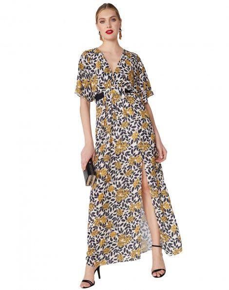 Amaro Feminino Vestido Longo Estampado Com Faixa, Bege