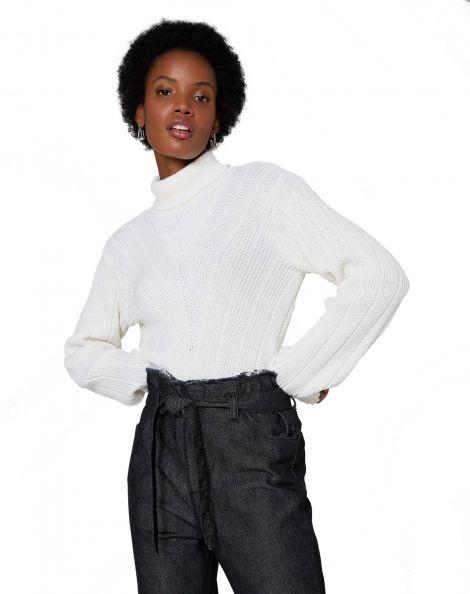 Amaro Feminino Suéter Tricot Chevron, Branco
