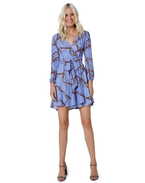 Amaro Feminino Vestido Curto Crepe Wrap, Azul