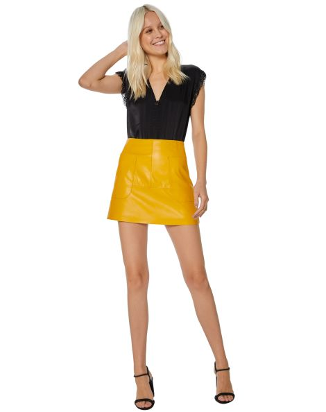 Amaro Feminino Minissaia Leather Bolsos Laterais, Amarelo