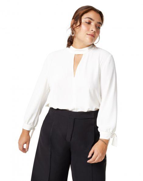 Amaro Feminino Blusa Crepe Gola Decote V, Branco