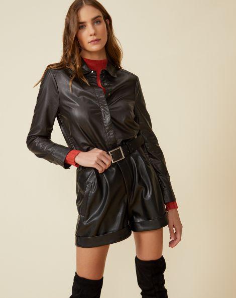 Amaro Feminino Shorts Leather Com Cinto, Preto