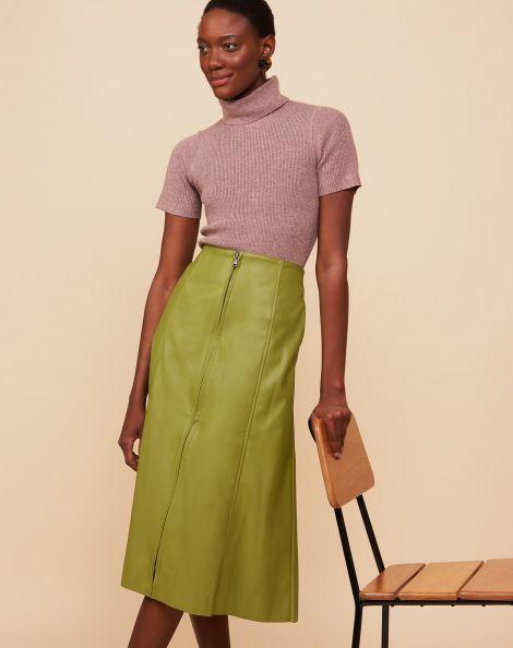 Amaro Feminino Saia Midi Leather Recortes, Verde