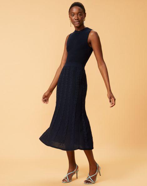 Amaro Feminino Vestido Tricot Saia Trançada, Azul
