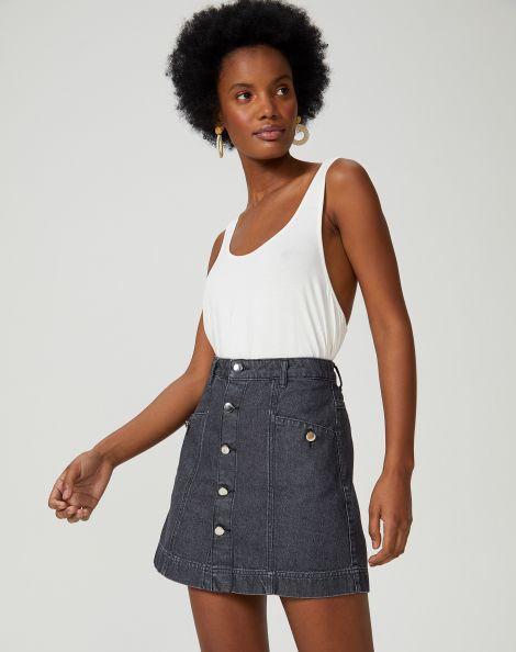 Amaro Feminino Saia Jeans Curta Botões Frente, Preto