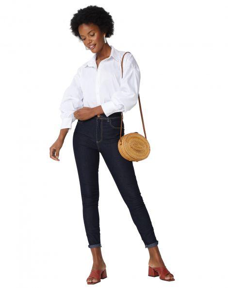 Amaro Feminino Calça Jeans Skinny Costuras Contraste, Azul