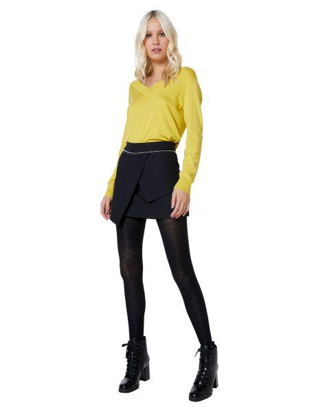 Amaro Feminino Shorts Saia Tweed Com Detalhes, Preto