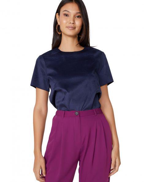 Amaro Feminino Camiseta Manga Curta Suede, Azul