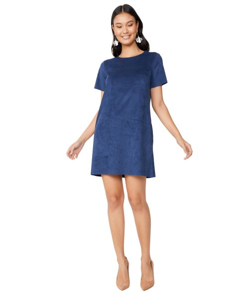 Amaro Feminino Vestido Curto Suede Bolsos, Azul