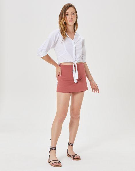 Amaro Feminino Shorts Saia Botões, Rosa