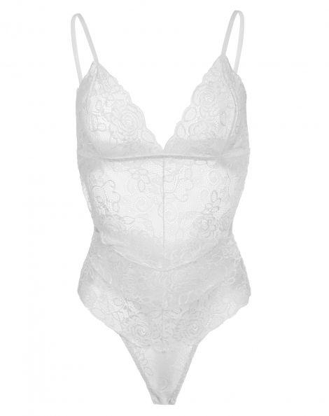 Amaro Feminino Body Caleçon Costas Vazadas, Branco
