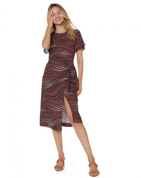 Amaro Feminino Vestido Midi Saia Com Amarração, Marrom