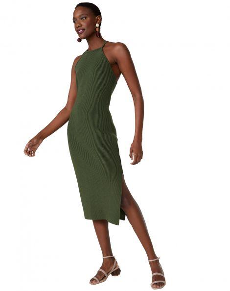 Amaro Feminino Vestido Tricot Midi Decote Alto, Verde