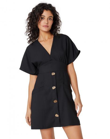 Amaro Feminino Vestido Curto Creponado Decote V, Preto