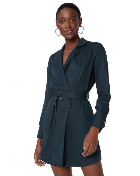 Amaro Feminino Vestido Wrap Com Lapela E Cinto, Preto