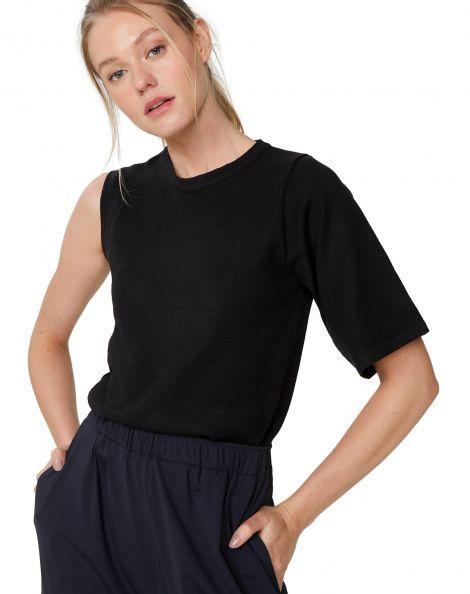 Amaro Feminino Camiseta Tricot Assimetrica, Preto