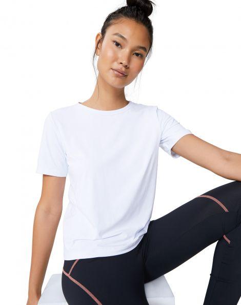 Amaro Feminino Camiseta Com Detalhe Costas, Branco