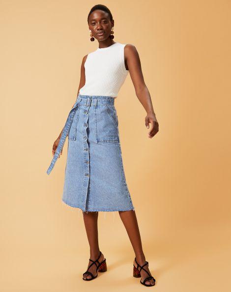 Amaro Feminino Saia Jeans Bolso Utilitário, Azul