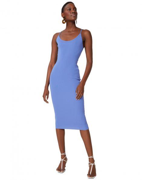 Amaro Feminino Vestido Tricot Midi Rio, Azul