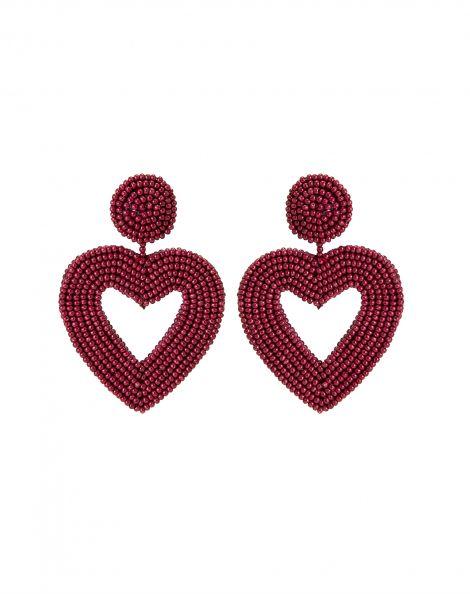 Amaro Feminino Brinco Coração Miçanga, Vermelho