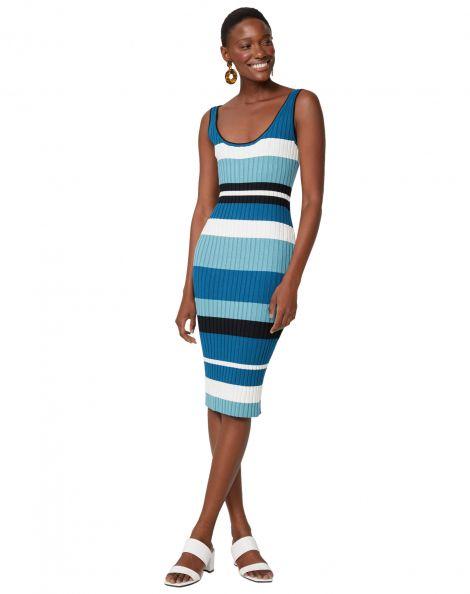 Amaro Feminino Vestido Listrado 4 Cores, Azul