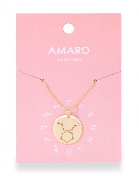 Amaro Feminino Colar Medalha Signos, Dourado