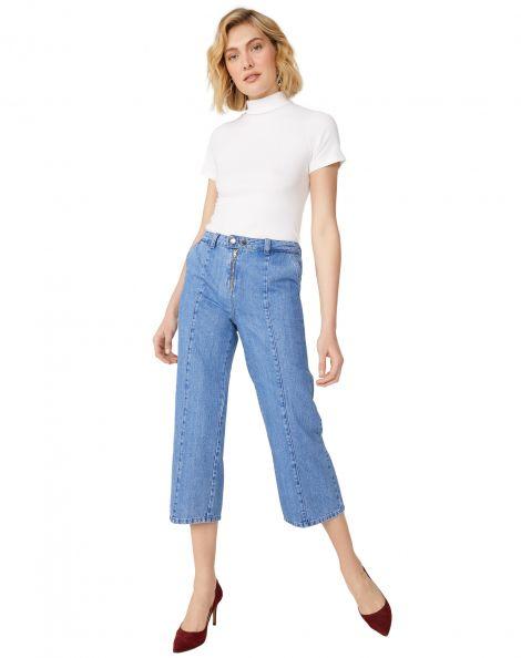Amaro Feminino Calça Jeans Wide Com Zíper Frente, Azul