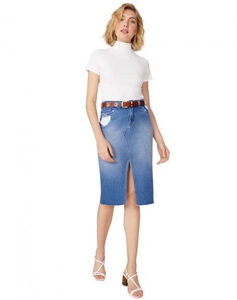 Amaro Feminino Saia Jeans Midi Com Fenda, Azul