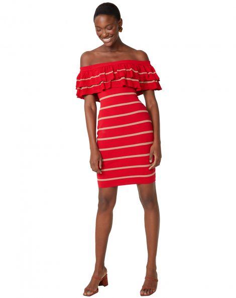 Amaro Feminino Vestido Tubo Com 2 Texturas, Vermelho