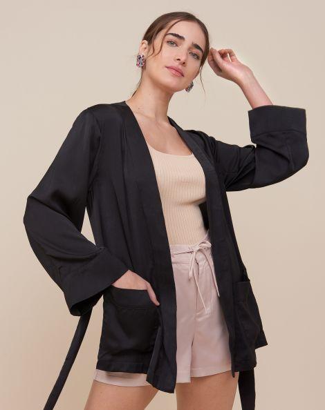 Amaro Feminino Kimono Japonês Com Bolso, Preto