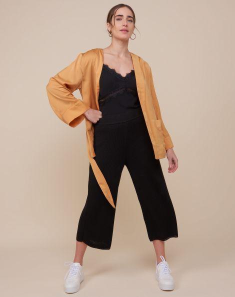 Amaro Feminino Kimono Japonês Com Bolso, Amarelo