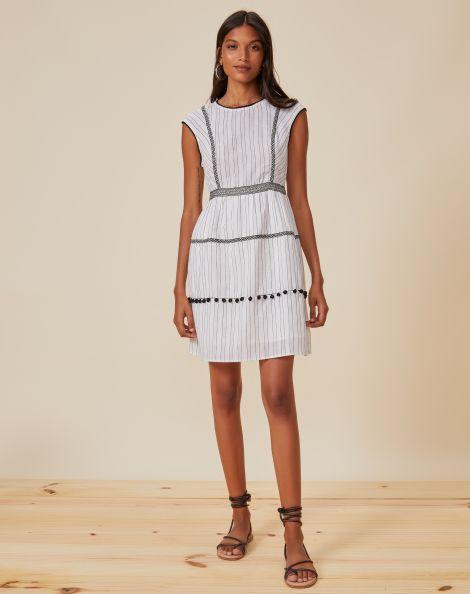 Amaro Feminino Vestido Com Costura Color Block, Branco