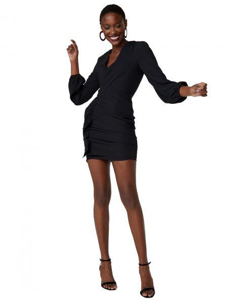 Amaro Feminino Vestido Curto Decote V Drapeado, Preto