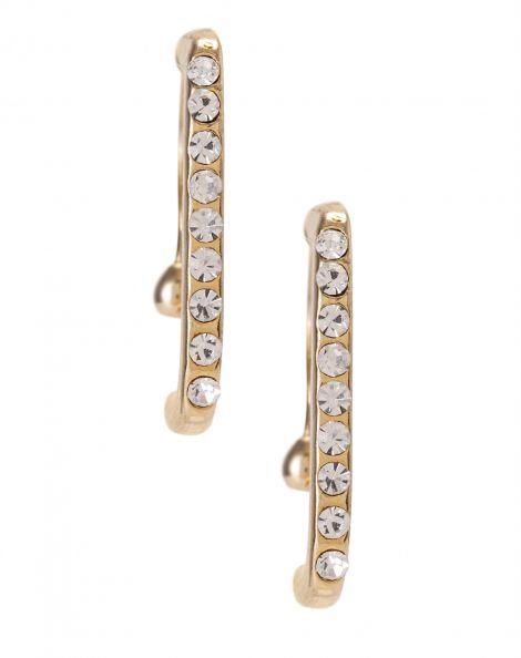 Amaro Feminino Ear Hook Folheado Cristais, Dourado