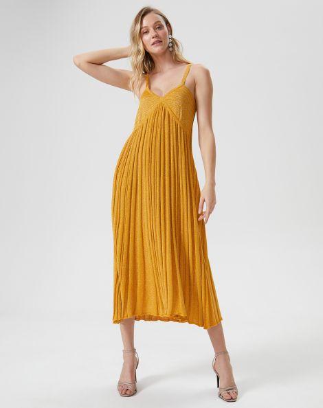 Amaro Feminino Vestido Tricot Alça Plissado, Amarelo