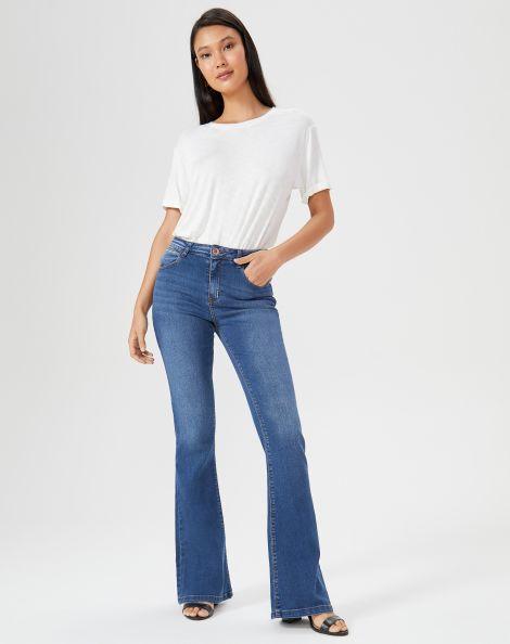 Amaro Feminino Calça Jeans Flare Bolso Relógio Diferenciado, Azul