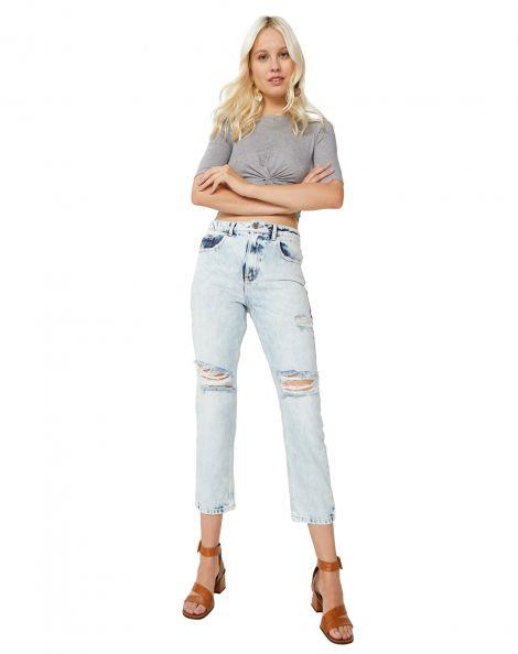 Amaro Feminino Calça Jeans Slim Com Rasgos, Azul
