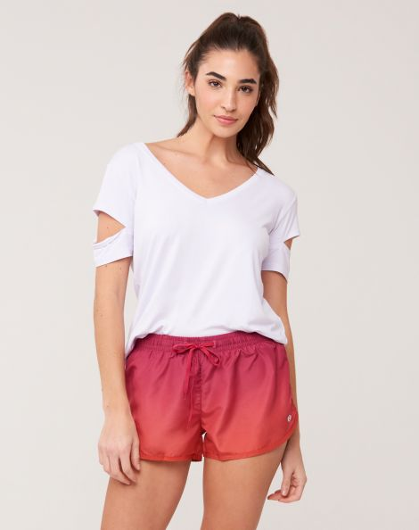 Amaro Feminino Shorts Runner Degrade, Rosa