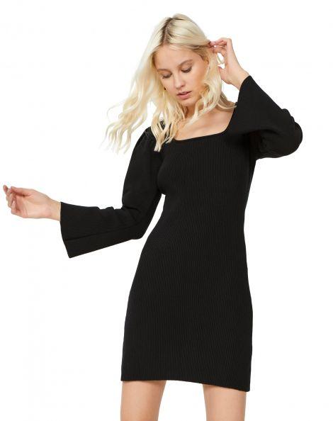 Amaro Feminino Vestido Tricot Decote Quadrado, Preto