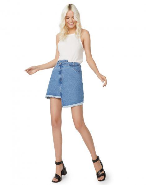 Amaro Feminino Saia Jeans Assimétrica, Azul