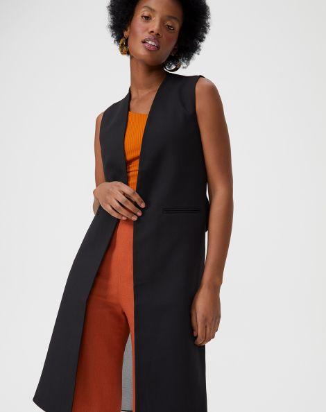 Amaro Feminino Colete Fashion Com 2 Tecidos, Preto
