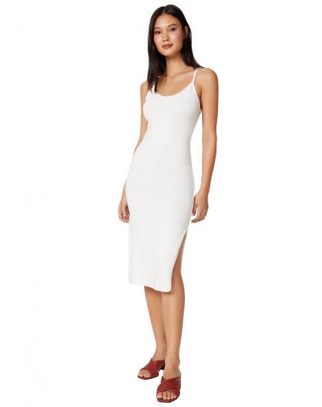 Amaro Feminino Vestido Tricot Midi Alça Fina, Branco