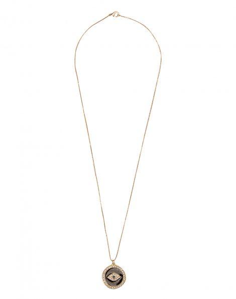 Amaro Feminino Colar Folheado Medalha Olho Grego, Dourado
